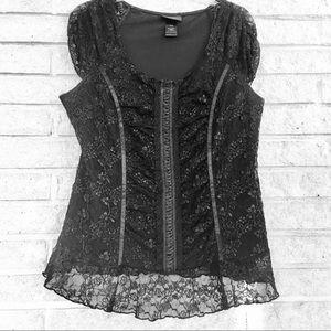LANE BRYANT laced black top, size 14/16